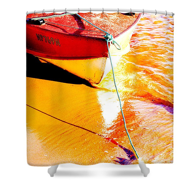 Boat Abstract Yellow Water Orange Shower Curtain featuring the photograph Boat abstract by Sheila Smart Fine Art Photography