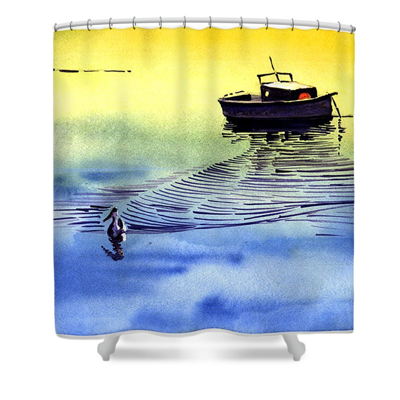Watercolor Shower Curtain featuring the painting Boat And The Seagull by Anil Nene