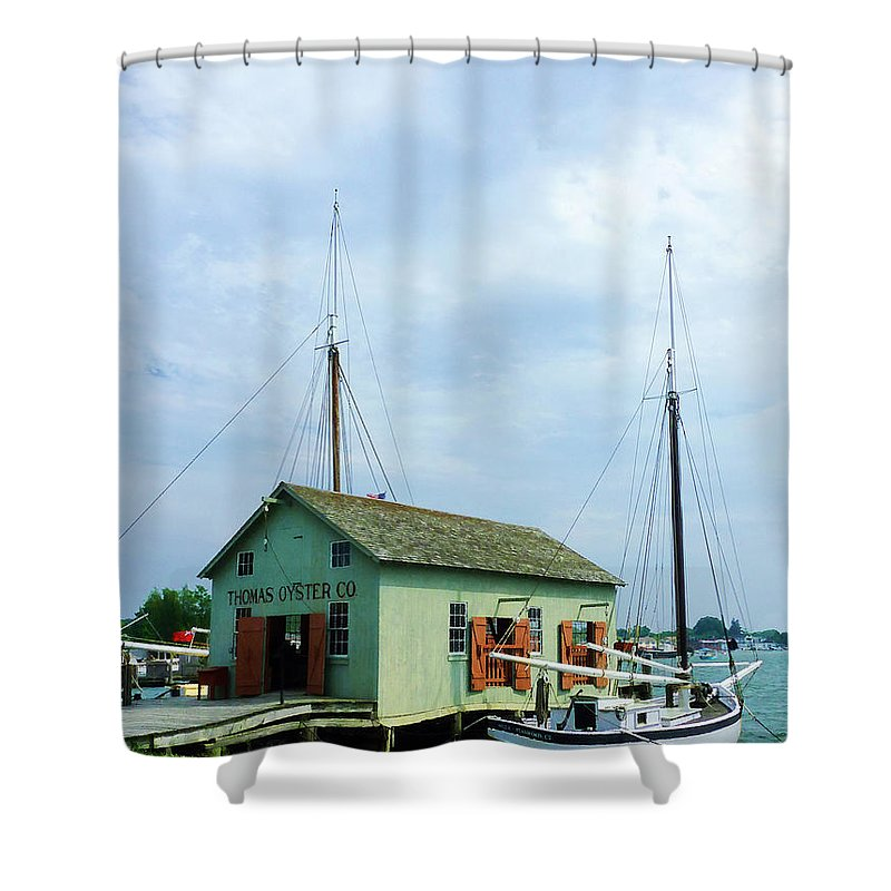Boat Shower Curtain featuring the photograph Boat By Oyster Shack by Susan Savad