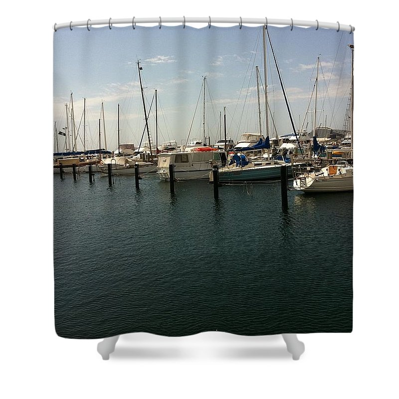 Boat Shower Curtain featuring the painting Boat Harbour by Richard Benson