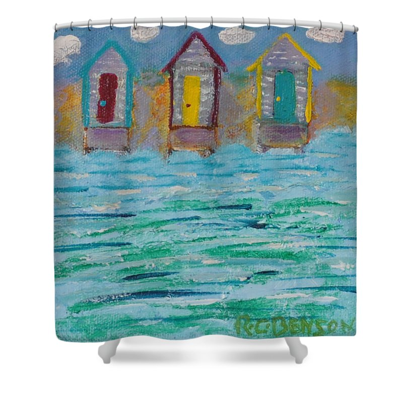 Boat Shower Curtain featuring the painting Boat House by Richard Benson