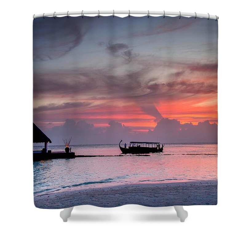 Shower Curtain featuring the photograph Boat Sunset by David Trent
