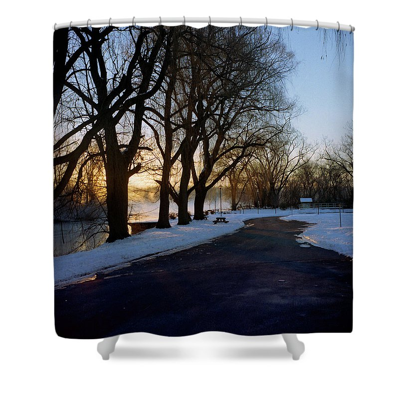 Winter Shower Curtain featuring the photograph Boat Launch In Winter by Joshua Macneil