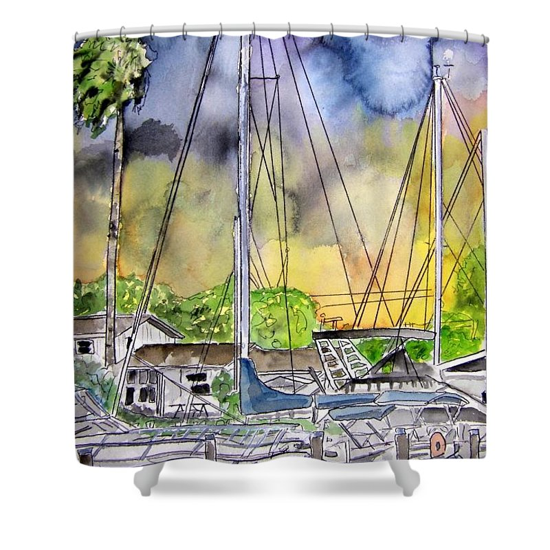 Marina Shower Curtain featuring the painting Boat Marina by Derek Mccrea