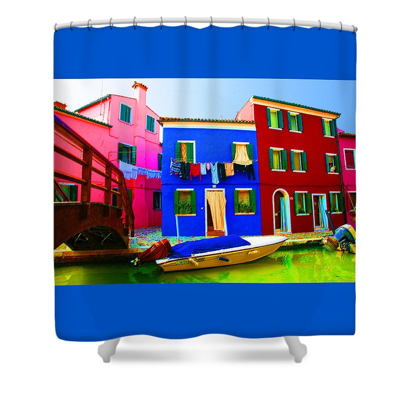 Burano Shower Curtain featuring the pastel Boat Matching House by Donna Corless