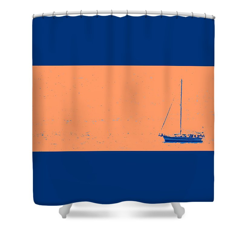 Boat Shower Curtain featuring the photograph Boat On An Orange Sea by Ian MacDonald