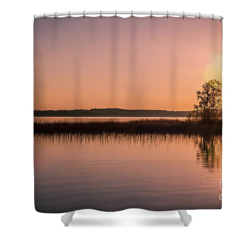 Boat Shower Curtain featuring the photograph Boat On Calm Lake by Ilari