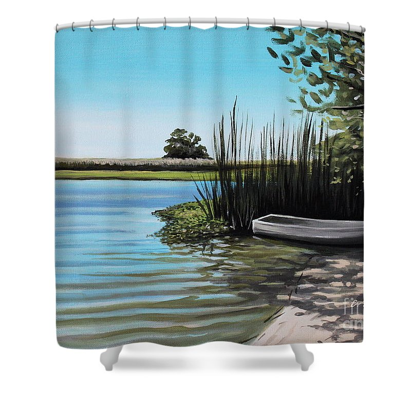 Boat Shower Curtain featuring the painting Boat On The Shadowed Beach by Elizabeth Robinette Tyndall