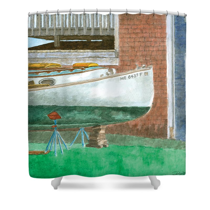 Boat Shower Curtain featuring the painting Boat Out Of Water - Portland Maine by Dominic White