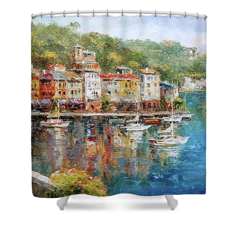 Portofino Shower Curtain Featuring The Painting Boat Italy Seascape By Luigi Paulini