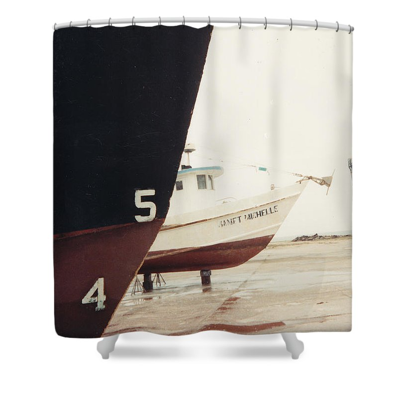 Boat Reflection Shower Curtain featuring the photograph Boat Reflection And Angles by Cindy New