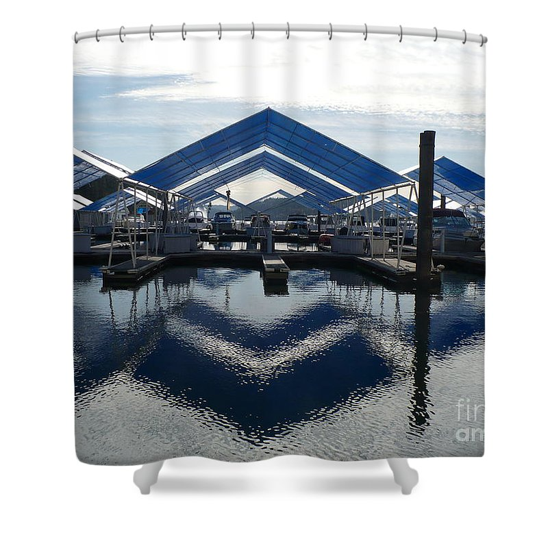 Boats Shower Curtain featuring the photograph Boat Reflection On Lake Coeur D'alene by Carol Groenen