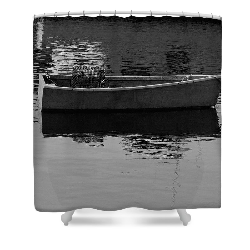 New England Shower Curtain featuring the photograph Boat Reflections by Nancie DeMellia