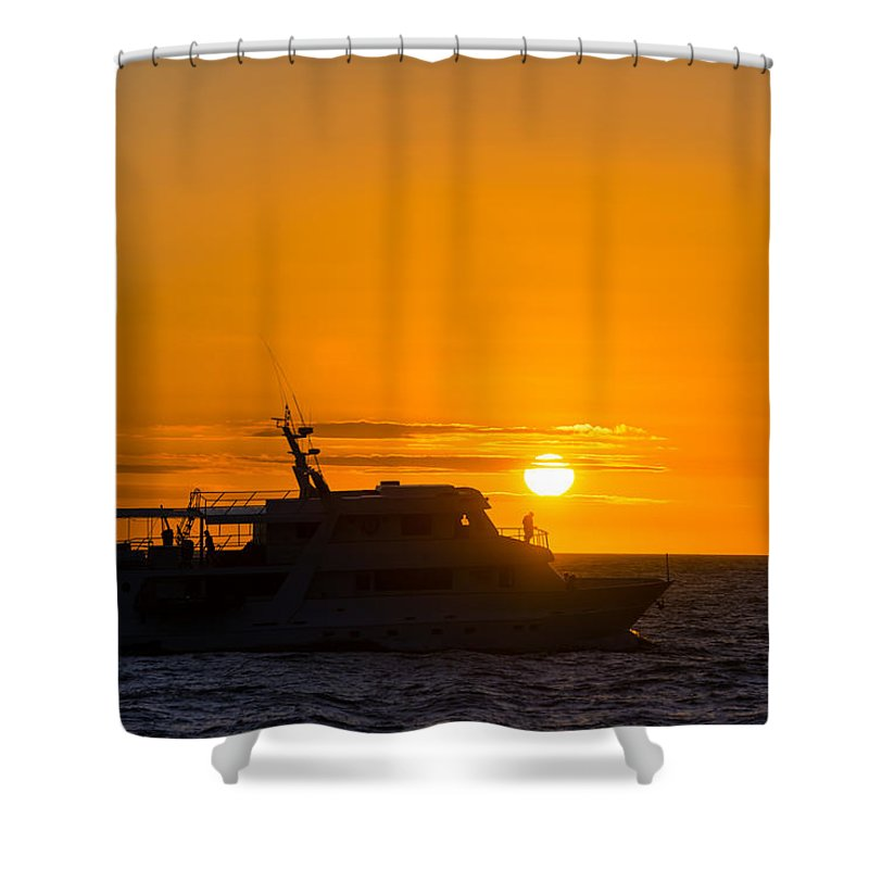 Galapagos Islands Shower Curtain featuring the photograph Boat Sunset Silhouette by Jess Kraft