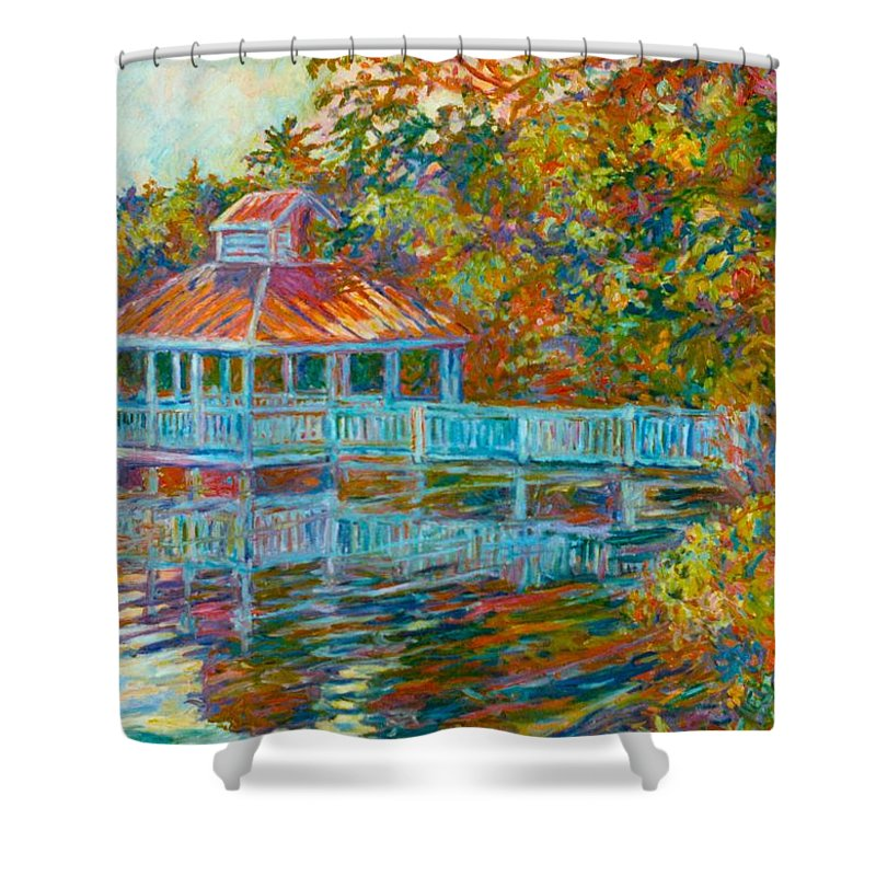 Mountain Lake Shower Curtain featuring the painting Boathouse At Mountain Lake by Kendall Kessler