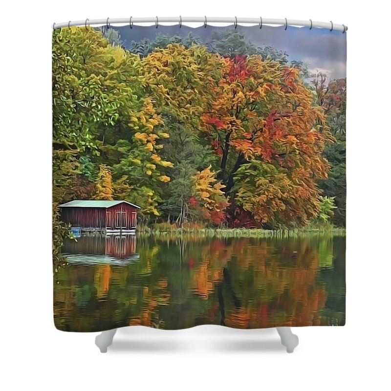 Boathouse Shower Curtain featuring the painting Boathouse by Harry Warrick
