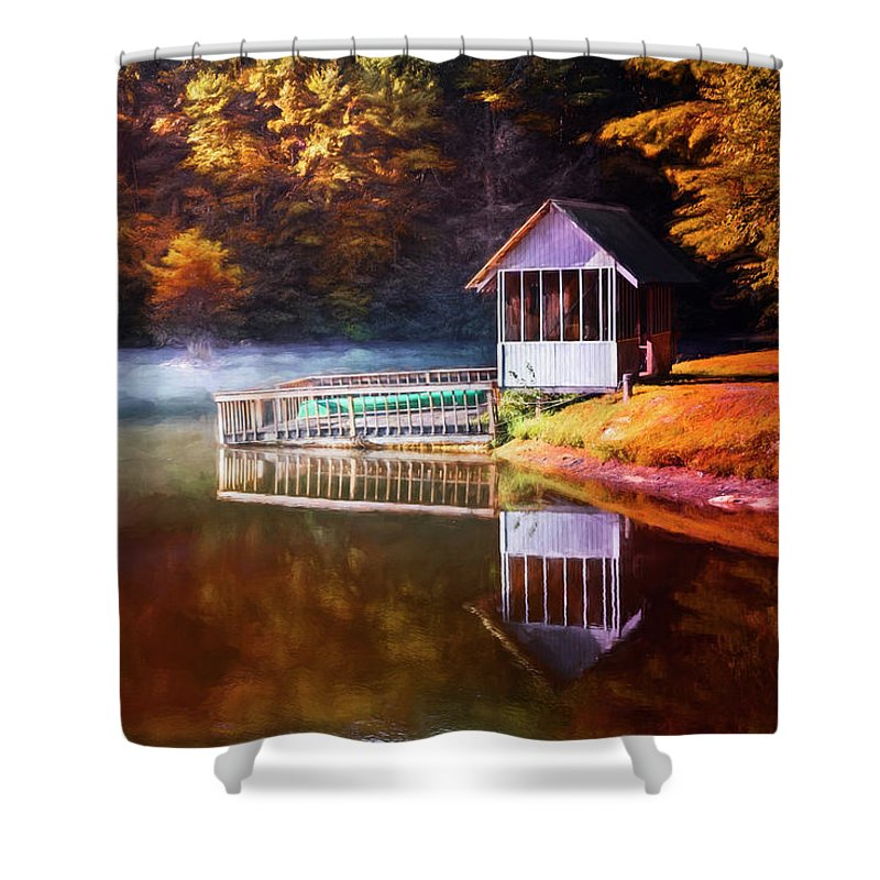 Appalachia Shower Curtain featuring the photograph Boathouse In Autumn Oil Painting by Debra and Dave Vanderlaan