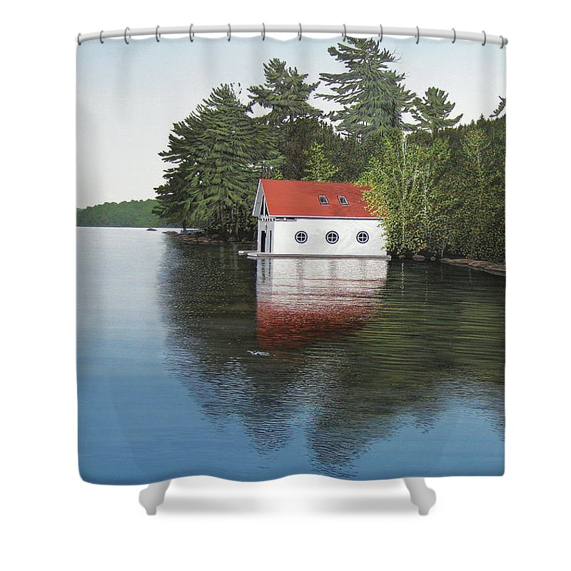 Canoe Shower Curtain featuring the painting Boathouse by Kenneth M Kirsch