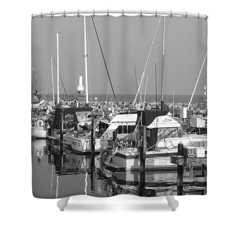 Sailboats Shower Curtain featuring the photograph Boats And Reflections B-w by Anita Burgermeister