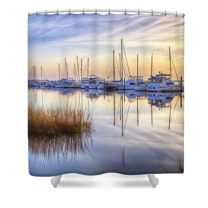 Boats Shower Curtain featuring the photograph Boats At Calm by Debra and Dave Vanderlaan