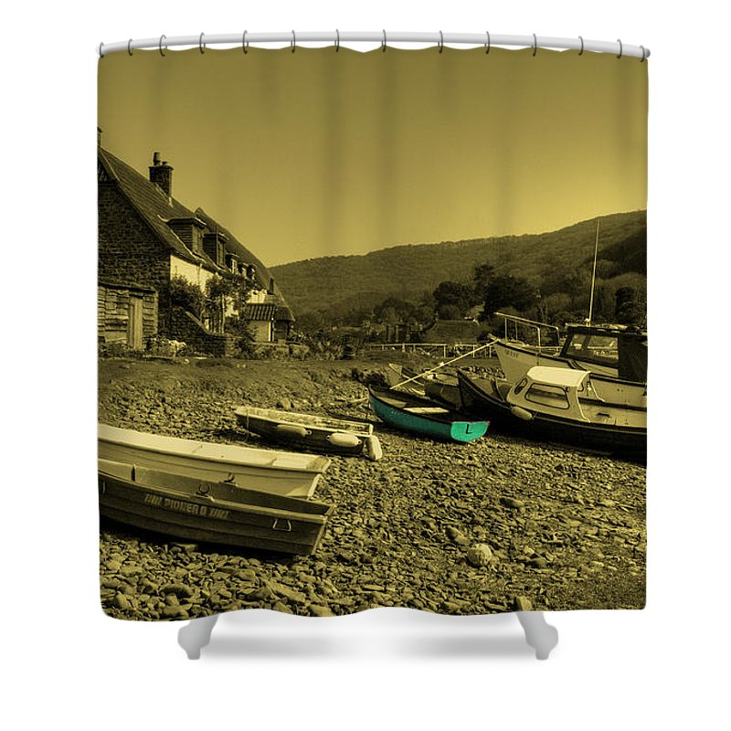 Porlock Shower Curtain featuring the photograph Boats At Porlock Weir by Rob Hawkins