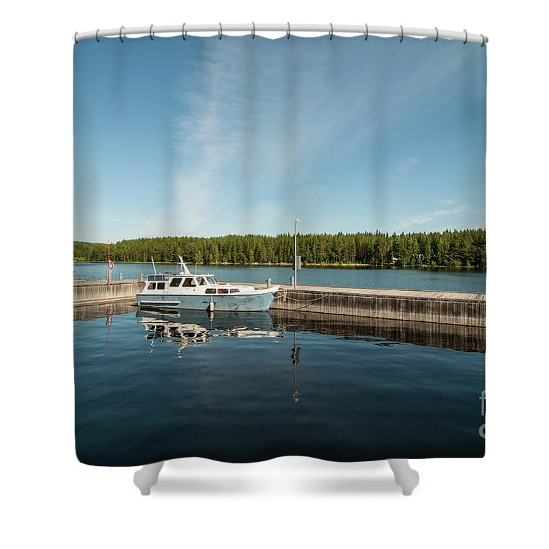 Boat Shower Curtain featuring the photograph Boats At The Dock by Ilari