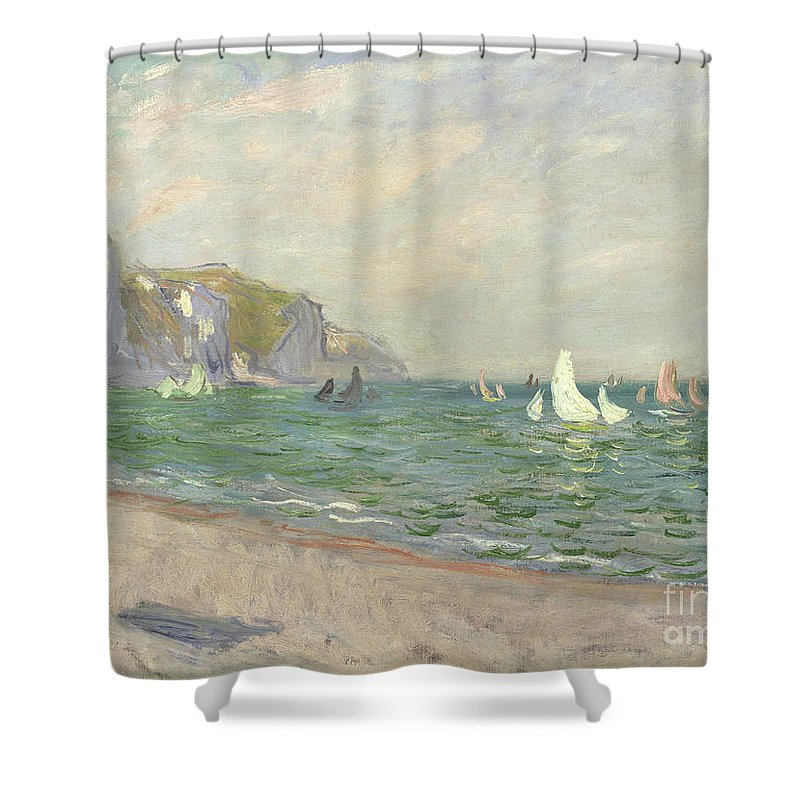 Boats Shower Curtain featuring the painting Boats below the Cliffs at Pourville by Claude Monet
