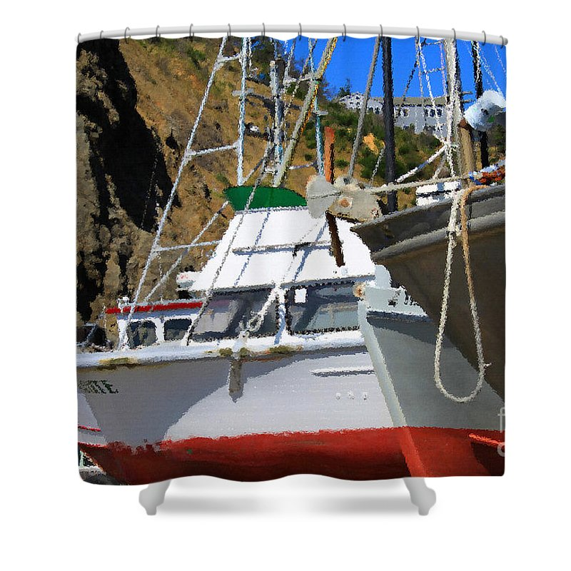 Anchor Shower Curtain featuring the photograph Boats In Drydock by James Eddy