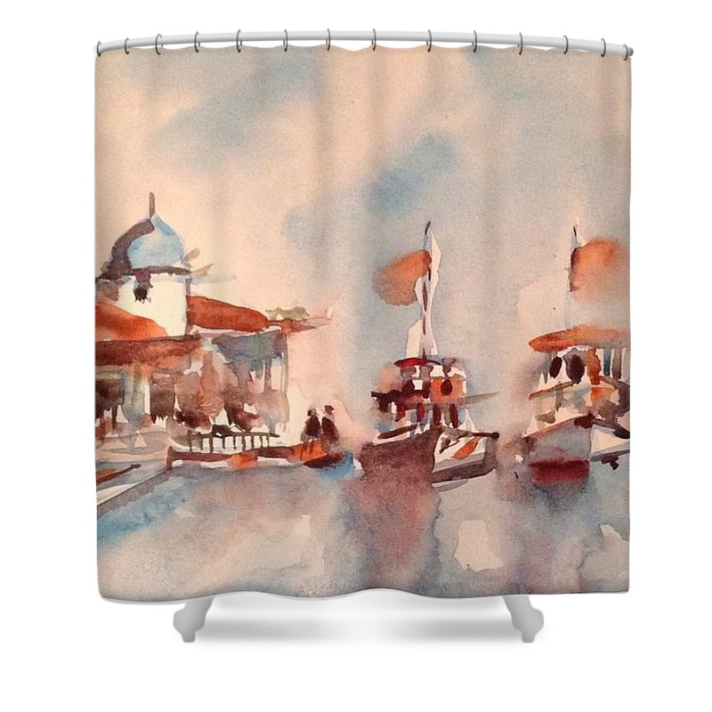 Landsca Shower Curtain featuring the painting Boats by Issam Tewfik