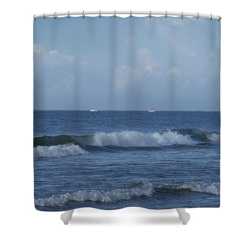 Ocean Shower Curtain featuring the photograph Boats On The Horizon by Teresa Mucha