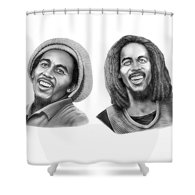 Drawing Shower Curtain featuring the drawing Bob And Bob Marley by Murphy Elliott