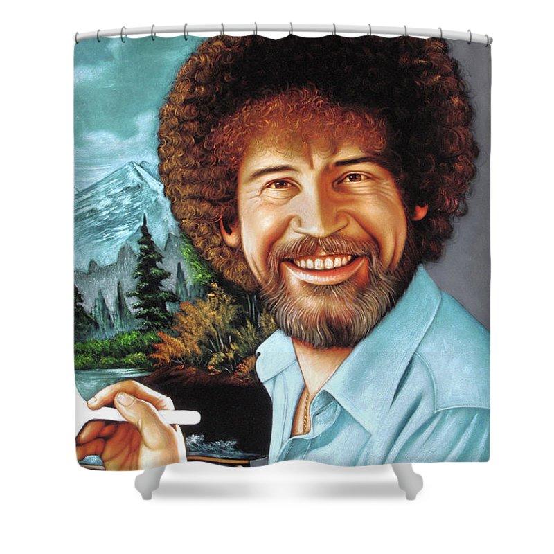 Velvet Painting Shower Curtain featuring the painting Bob Ross by Zenon Matias Jimenez