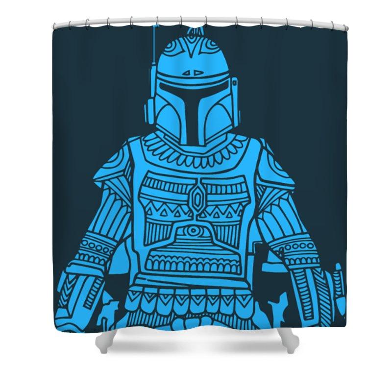 Boba Shower Curtain featuring the mixed media Boba Fett - Star Wars Art, Blue by Studio Grafiikka
