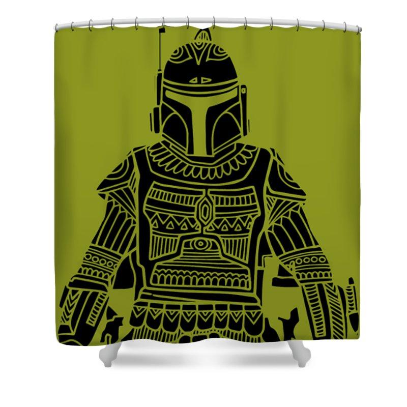 Boba Shower Curtain featuring the mixed media Boba Fett - Star Wars Art, Green by Studio Grafiikka