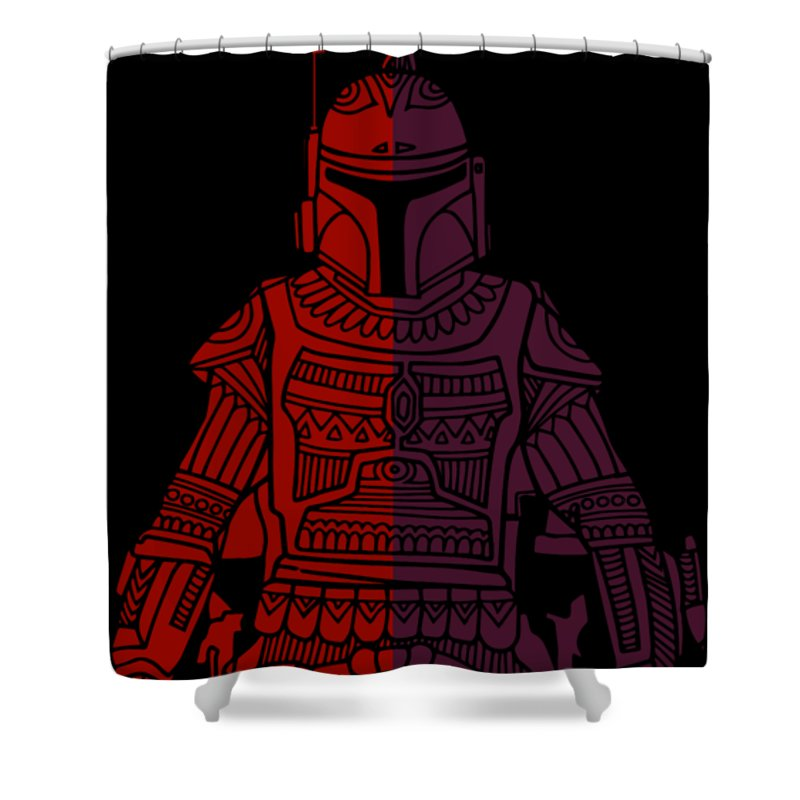 Boba Shower Curtain featuring the mixed media Boba Fett - Star Wars Art, Red Violet by Studio Grafiikka