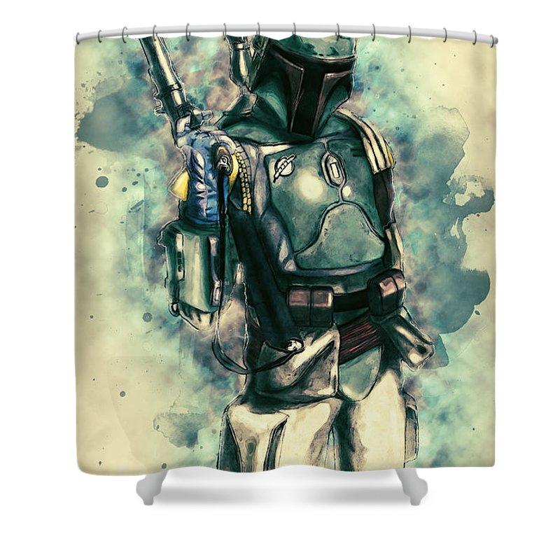 Boba Fett Shower Curtain featuring the digital art Boba Fett by Zapista OU