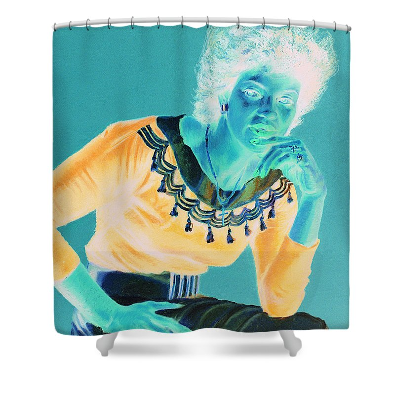 Portrait Shower Curtain featuring the painting Bobbi by Jean Hildebrant