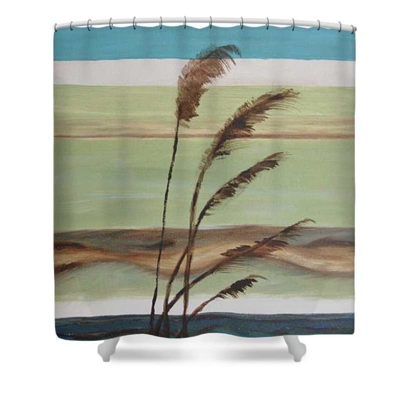 Ocean Shower Curtain featuring the painting Bob's Beach by Debbie Frame Weibler