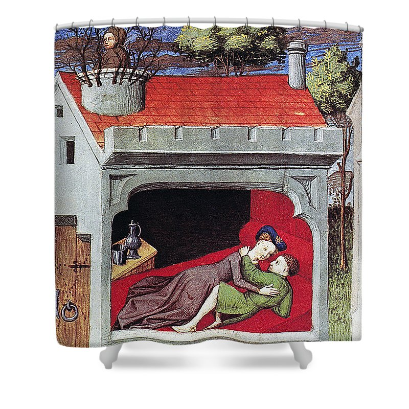 1430 Shower Curtain featuring the photograph Boccaccio: Lovers, C1430 by Granger