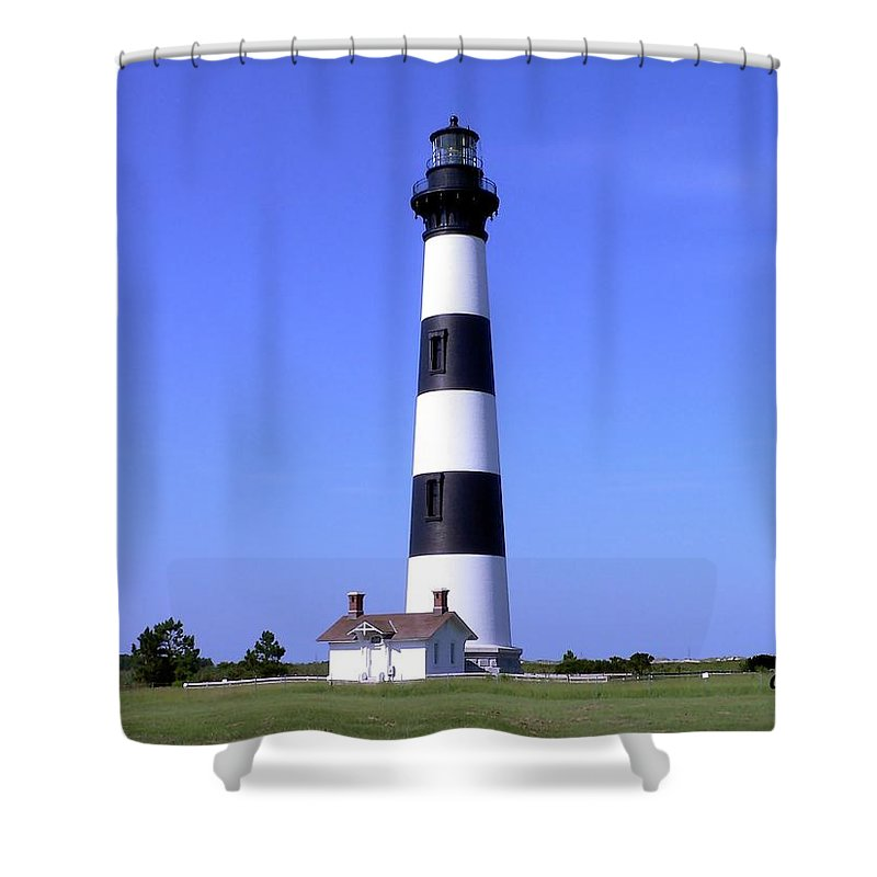 Light Shower Curtain featuring the photograph Bodie Island Light by Al Powell Photography USA