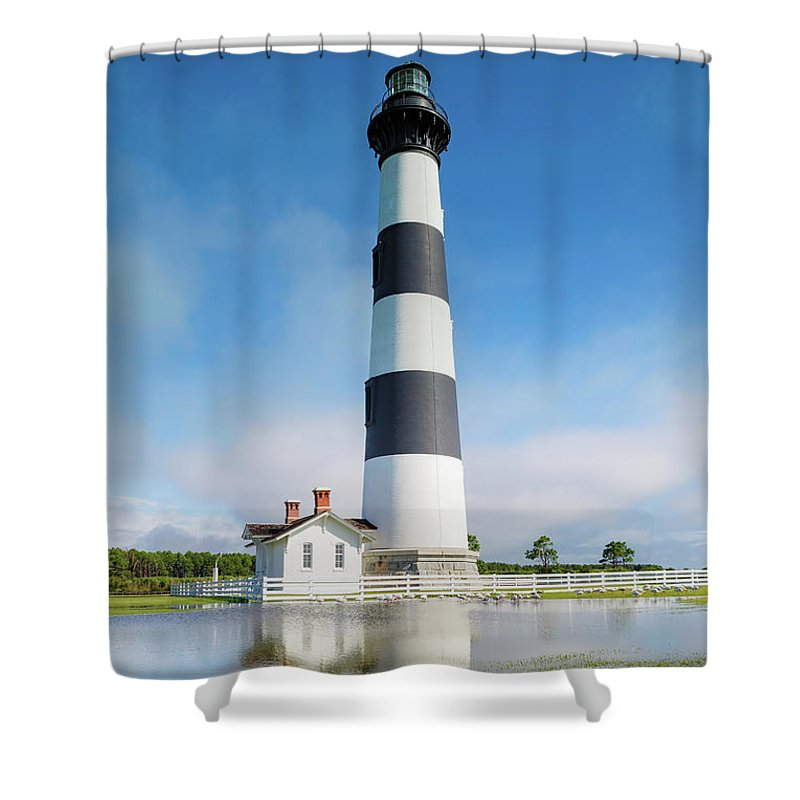 Bodie Island Lighthouse Shower Curtain featuring the photograph Bodie Lighthouse by Carol VanDyke