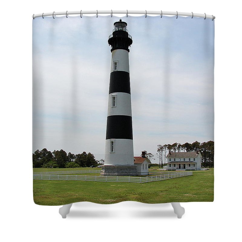 Bodie Lighthouse Shower Curtain featuring the photograph Bodie Lighthouse Nags Head Nc V by Brett Winn