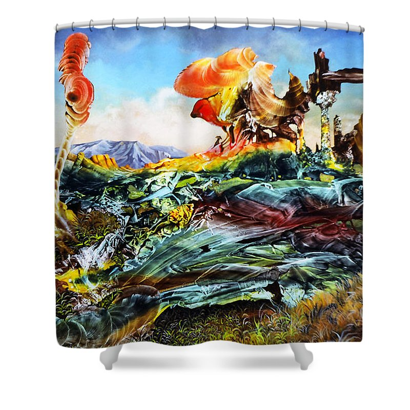 Landscape Shower Curtain featuring the painting Bogomil Landscape by Otto Rapp