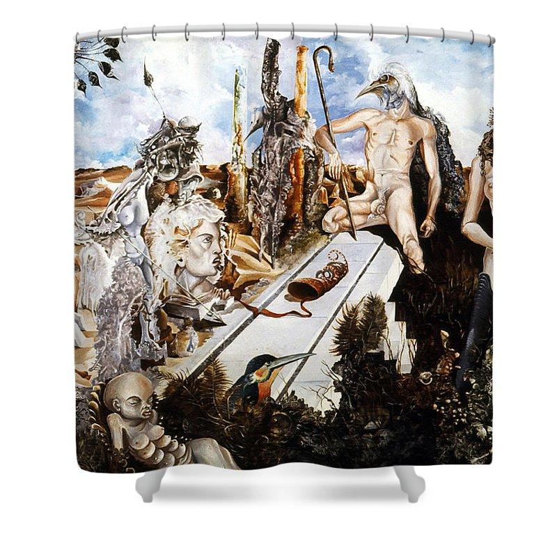 Surrealism Shower Curtain featuring the painting Bogomils Court by Otto Rapp