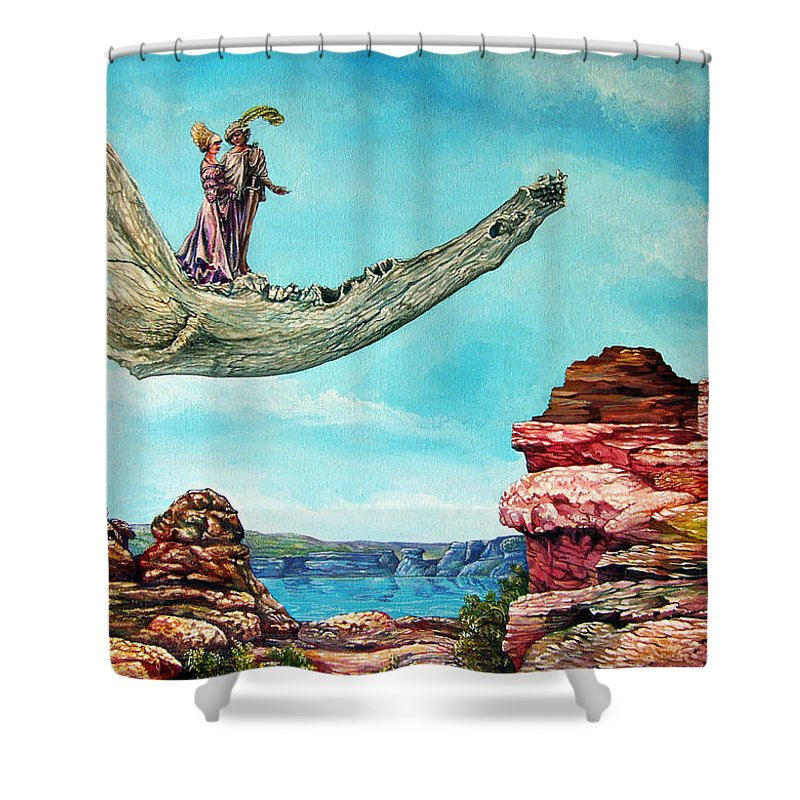 Painting Shower Curtain featuring the painting Bogomils Journey by Otto Rapp