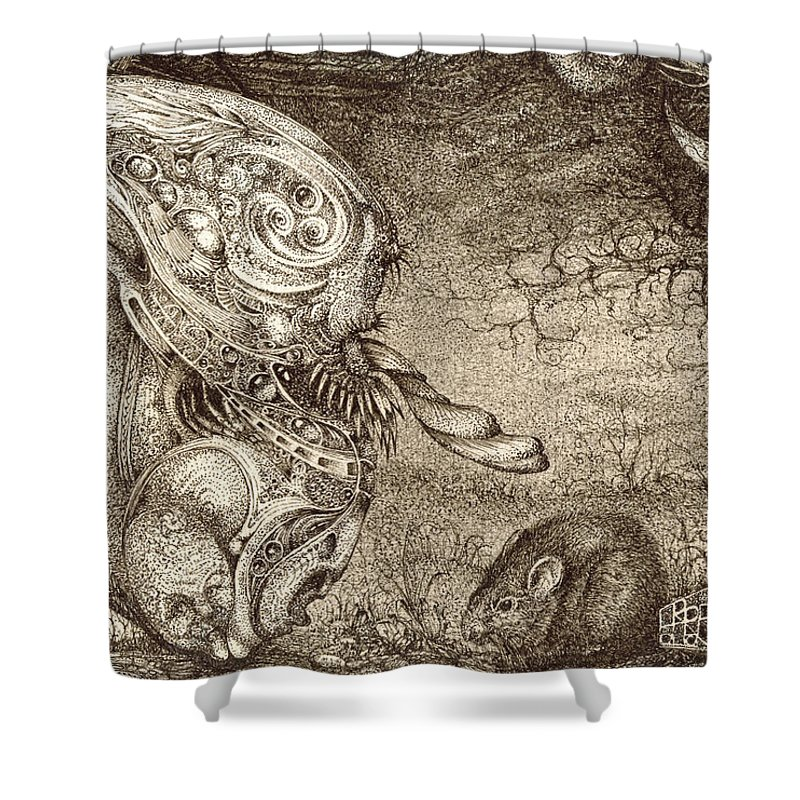 Surreal Shower Curtain featuring the drawing Bogomils Mousetrap by Otto Rapp