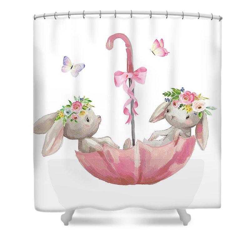 Bunny Shower Curtain Featuring The Digital Art Boho Rabbits Bunnies Umbrella Watercolor Nursery Wall