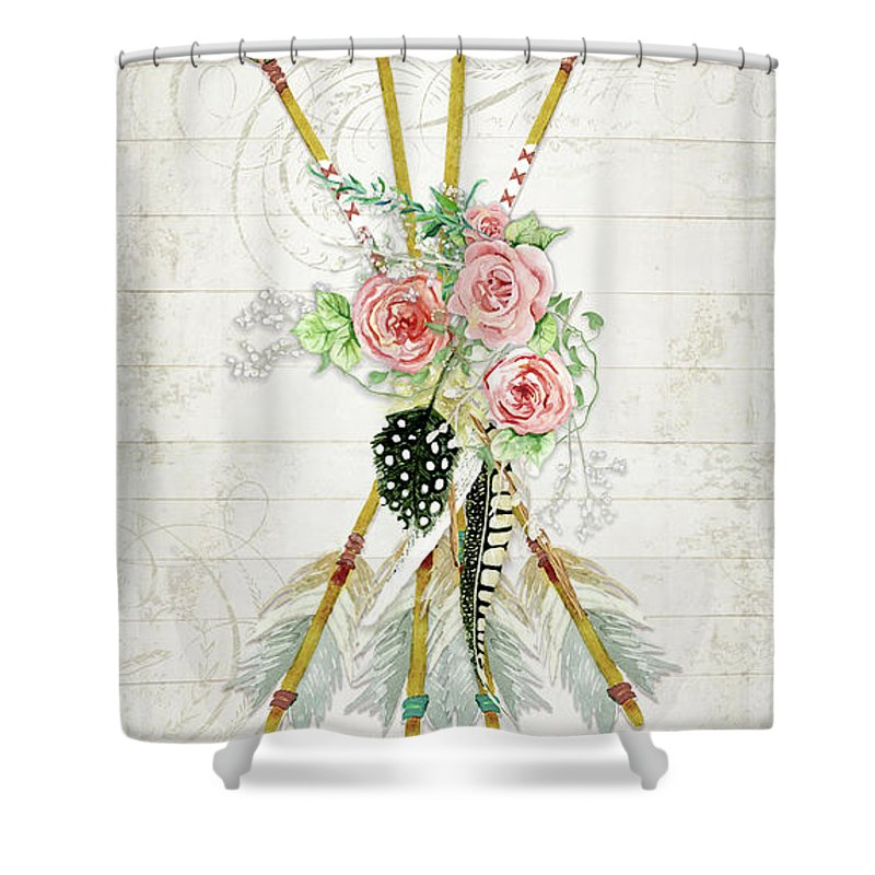 Arrows Shower Curtain Featuring The Painting Boho Western N Feathers W Wood Macrame And