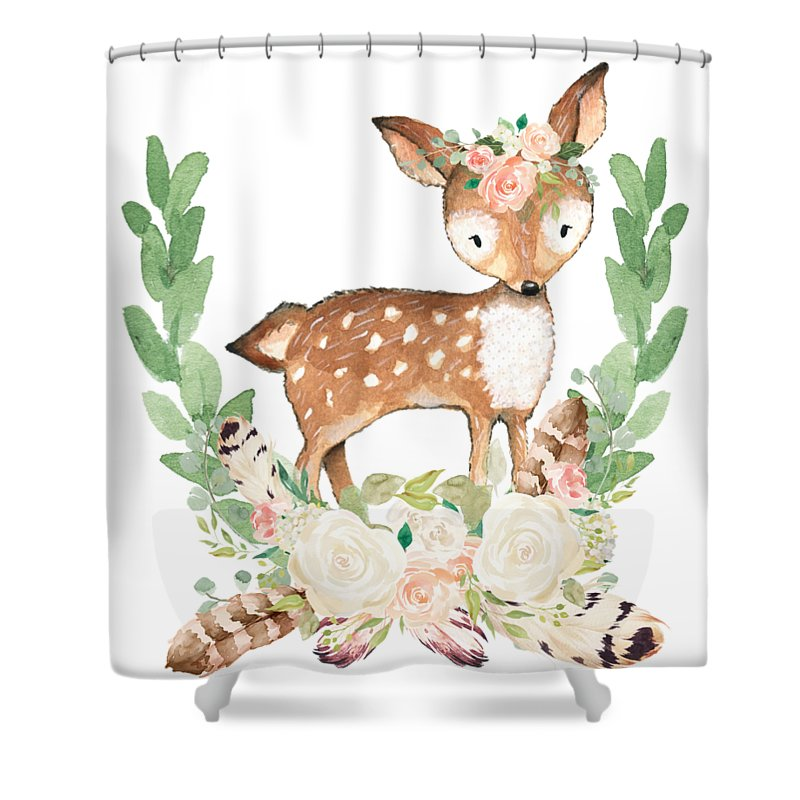 Boho Shower Curtain featuring the digital art Boho Woodland Blush Dear With Feathers by Pink Forest Cafe