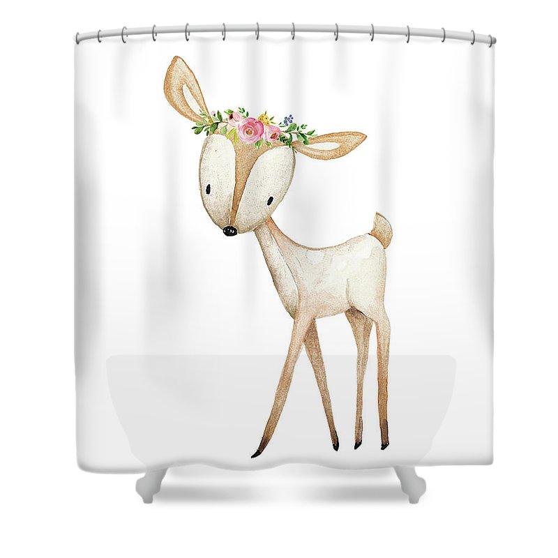 Deer Shower Curtain featuring the digital art Boho Woodland Deer Watercolor Floral Decor by Pink Forest Cafe